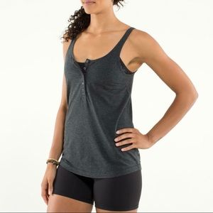 Lululemon grey button front Tank